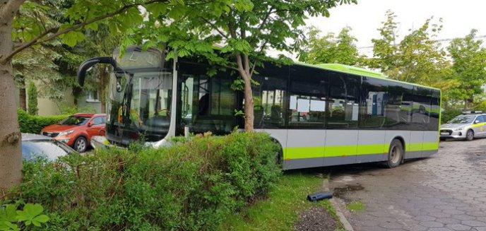 Kierowca autobusu na Pieczewie uderzył w drzewo i uszkodził dwa pojazdy [ZDJĘCIA]